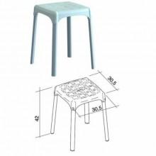 Sgabello Alluminio Antiscivolo Per Doccia Bagno 30x30xh42 Bianco FRA 34288