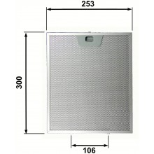 FILTRO IN  ALLUMINIO per CAPPE FABER  / FRANKE ADATTABILE mm.253 x 300 x 8 F 257
