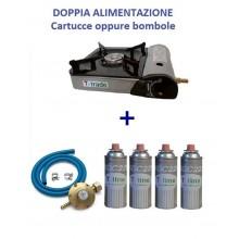 CUCINA GAS A VALIGIA + 4 CARTUCCE + KIT TUBO FORNELLO DOPPIO ALLACCIO / BOMBOLA