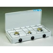 FORNELLO 3 FUOCHI  A GAS METANO CON COPERCHIO CAMPEGGIO PESCA CD 01025300