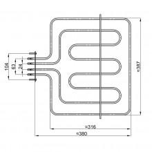 RESISTENZA FORNO ELETTRICO  SMEG SUPERIORE 900 + 2200 W NO ORIGINALE RE3